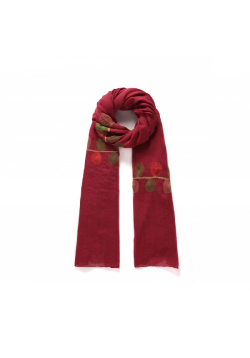 Foulard femme rouge brodée