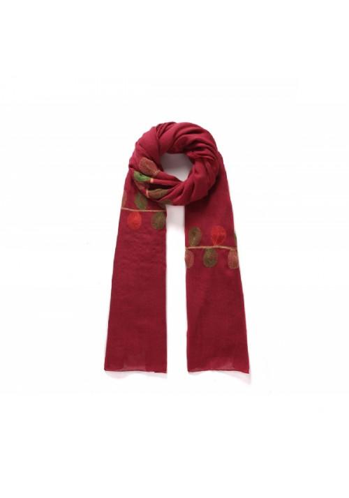 Echarpe femme rouge brodée