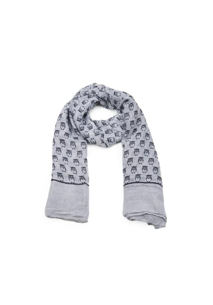Foulard femme grise motif hiboux. Echarpe femme grise motif hiboux 9a2e0bcbd69