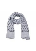 Foulard femme grise motif hiboux