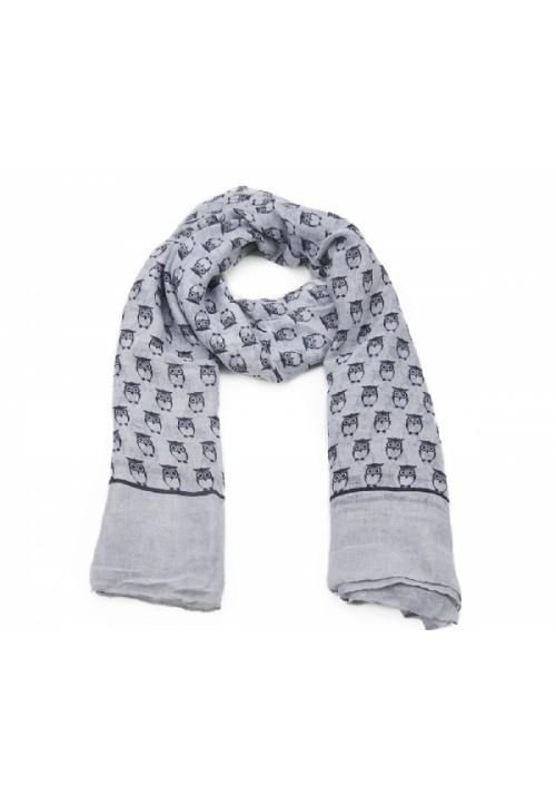 Echarpe femme grise motif hiboux