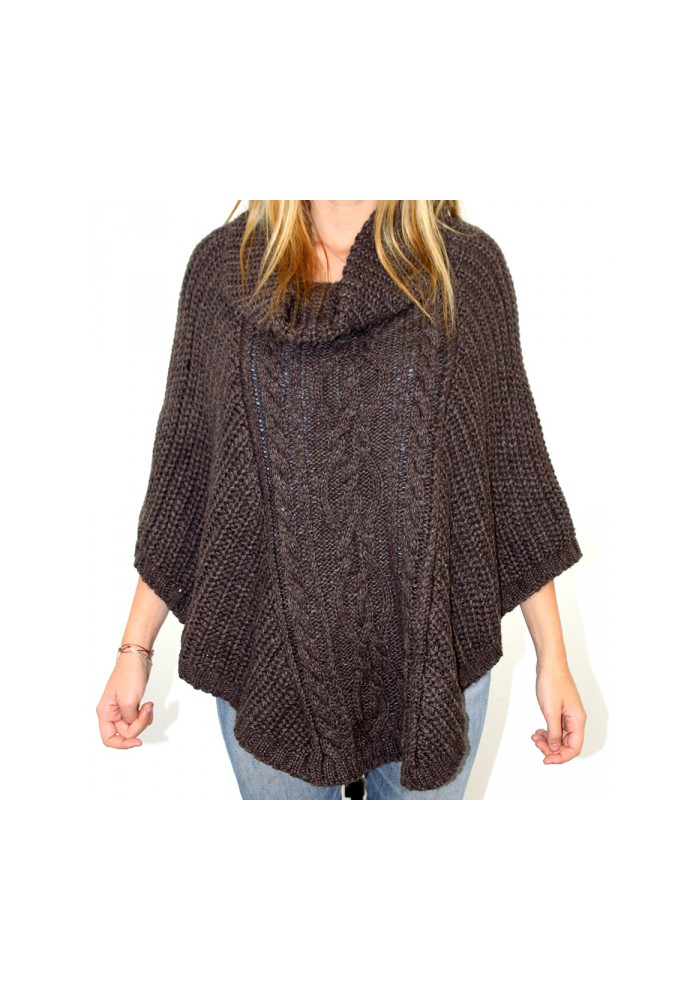 Poncho maille col roulé