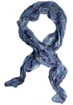 Foulard en soie bleu foncé motif Fleurs