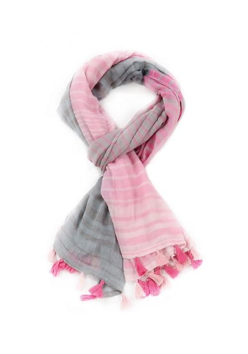 Foulard étole femme rayé rose et gris