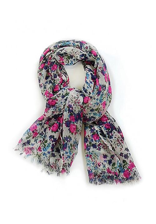 Foulard vintage fleur en laine