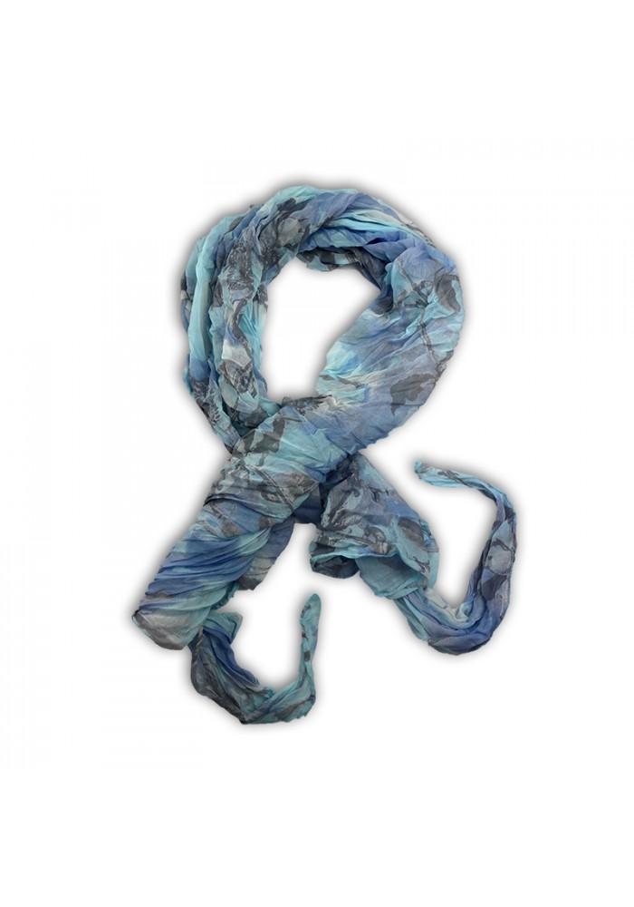 Foulard en soie bleu clair motif Fleurs