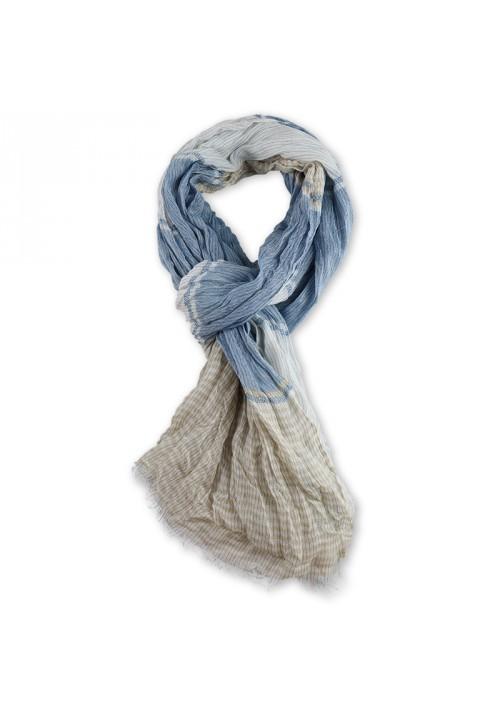 Foulard rayé homme type chèche bleu clair
