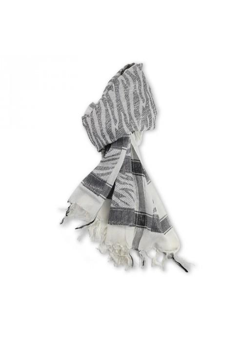 Foulard carré blanc argent à franges