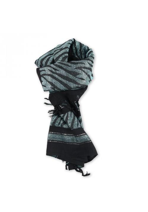 Foulard carré noir bleu argent à franges