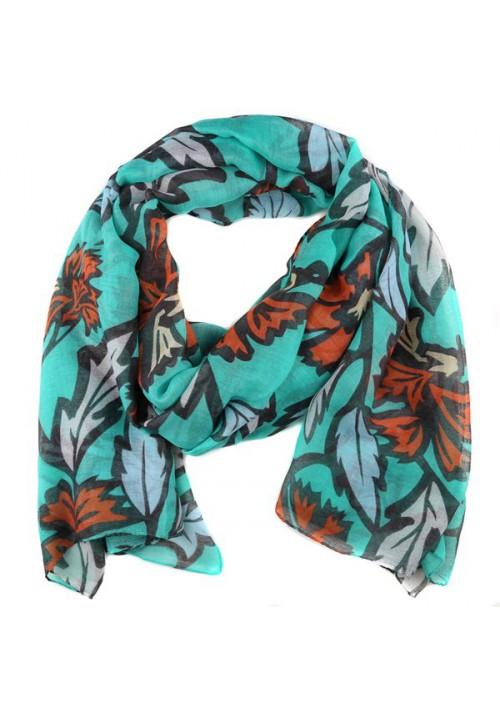 foulard femme motif feuilles